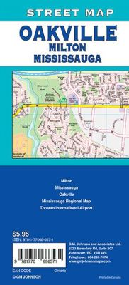 Mississauga, Oakville and Milton City Street Map, Ontario, Canada.