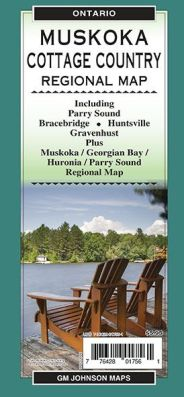 Muskoka, Parry Sound, Bracebridge and Cottage Country City Street Regional Map, Ontario, Canada.