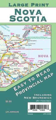 Nova Scotia Large Print and New Brunswick Province Map, Nova Scotia, Canada.