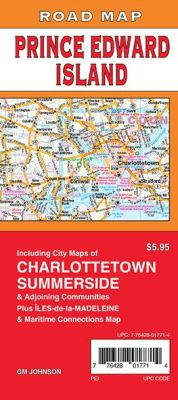 Prince Edward Island, Charlottetown and Summerside Road and Tourist Map, Canada.