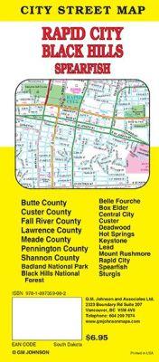 Rapid City, Black Hills, Sturgis and Badlands Natl Park City Street Map, South Dakota, America.