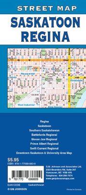 Regina, Saskatoon and Saskatchewan City Street Map, Canada.