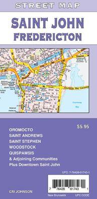 Saint John, Fredericton, St. Stephen and New Brunswick City Street Map, Canada.