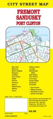 Sandusky, Fremont and Port Clinton City Street Map, Ohio, America.