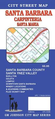 Santa Barbara, City street map, California, America.