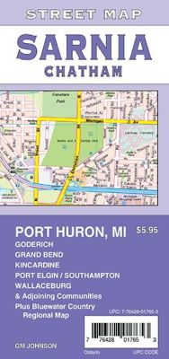 Sarnia, Chatham, Goderich and Port Huron MI City Street Map, Ontario, Canada.