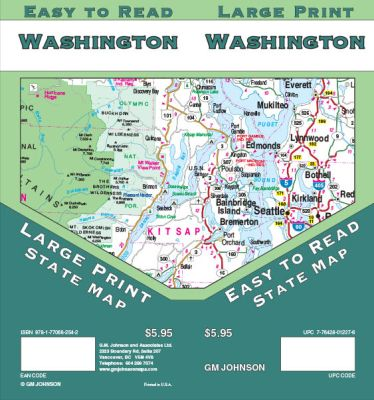 Washington Large Print Road and Tourist Guide map.