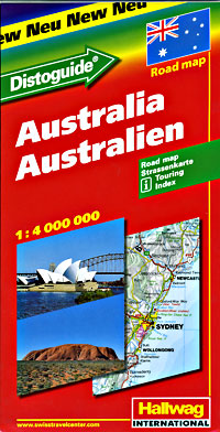 "Australia Road and Shaded Relief Tourist Map, with ""Distoguide""."