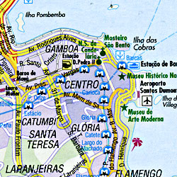 Brazil Road and Shaded Relief Tourist Map.