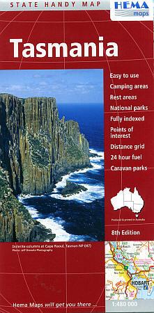 Tasmania State, Road and Tourist Map, Australia.
