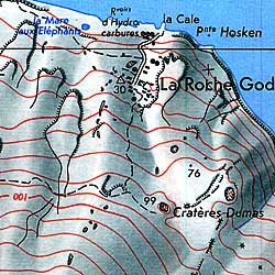 St. Paul and Amsterdam Islands, Road and Topographic Map, Atlantic Ocean.