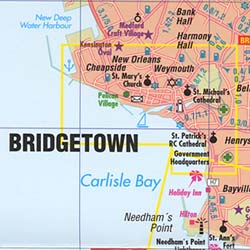 """Barbados """"Flexi"""" Road and Tourist Map, West Indies."""