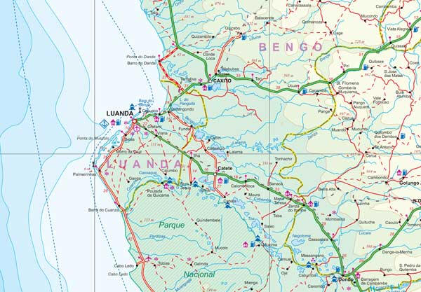 Angola Road and Physical Travel Reference Map.