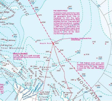 Antarctica Physical Travel Reference Map.
