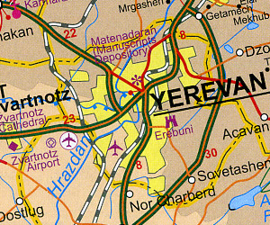 Armenia and Azerbaijan, Road and Physical Travel Reference Map.