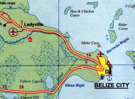 Belize Road and Physical Travel Reference Map.