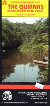 The Guianas: Suriname, French Guiana, and Guyana, Road and Physical Travel Reference Map.