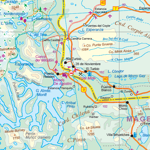 Patagonia Road and Physical Travel Reference Map.