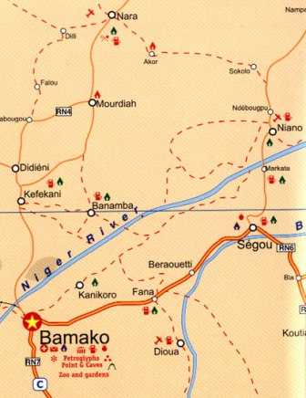 Africa Tourist Road and Physical Travel Reference Map.
