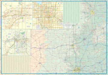 Texas and Oklahoma Road and Physical Travel Reference Map America.