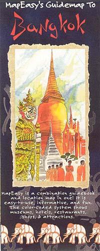 BANGKOK Illustrated Pictorial Map, Thailand.