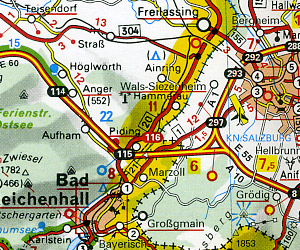 """Austria Road and Shaded Relief Tourist Map, with """"Distoguide""""."""