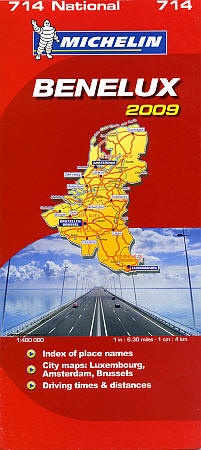 "Belgium, Luxembourg and The Netherlands (""Benelux""), Road and Shaded Relief Tourist Map."