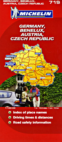 Austria, Germany, and Benelux, Road and Tourist Map.