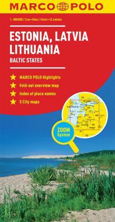 Estonia, Latvia and Lithuania Road and Tourist Map. Marco Polo edition.