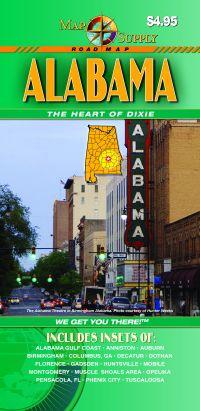 Alabama Road and Tourist Map, America.