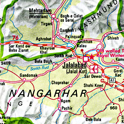 Afghanistan Road and Shaded Relief Tourist Map.