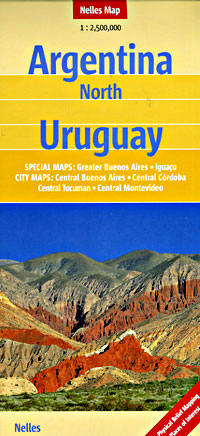 Argentina - Northern Half, and Uruguay, Road and Shaded Relief Tourist Road Map.