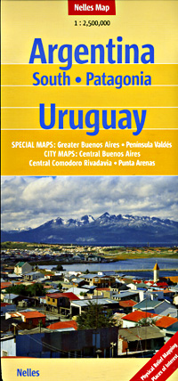 Southern Argentina and Uruguay, Road and Shaded Relief Tourist Map.