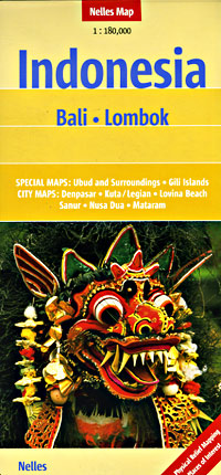 Bali and Lombok Islands, Road and Shaded Relief Tourist Map, Indonesia.