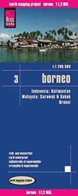 Borneo - Indonesia Road and Topographic Tourist Map, Indonesia.
