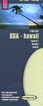 Hawaiian Islands Road and Topographic Tourist Map, America.
