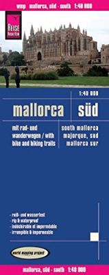 Mallorca, South, Road and Topographic Tourist Map, Balearic Isles, Spain.
