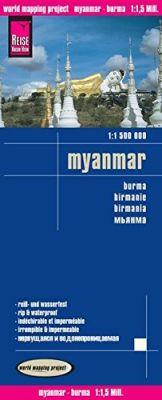 Burma (Myanmar) Road and Topographic Tourist Map.