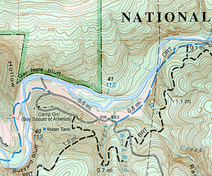 Buffalo River West, Road and Topographic Recreation Map, Arkansas, America.