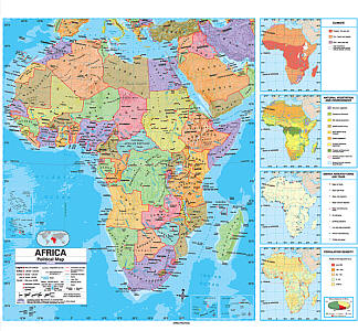 """Africa Advanced Political """"Classroom"""" WALL Map On Roller with Back Board."""
