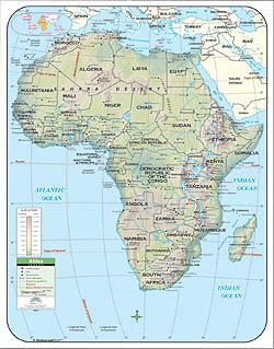 """Africa Primary """"Classroom"""" WALL Map Railed."""