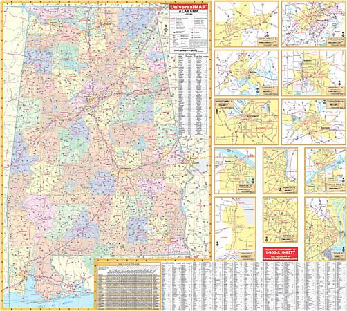 Alabama WALL Map.
