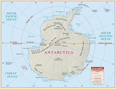 "Antarctica Primary ""Classroom"" WALL Map Railed."