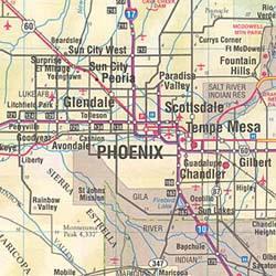 Arizona Road and Tourist Map, America.