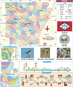 """Arkansas Primary Thematic """"Classroom"""" WALL Map."""