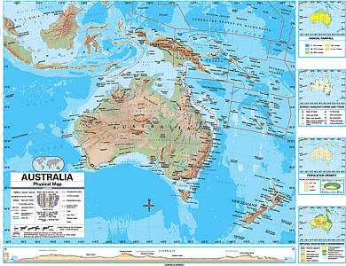 "Australia Advanced Physical ""Classroom"" WALL Map On Roller with Back Board."