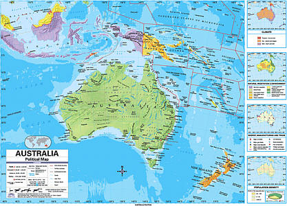 "Australia Advanced Political ""Classroom"" WALL Map On Roller with Back Board."
