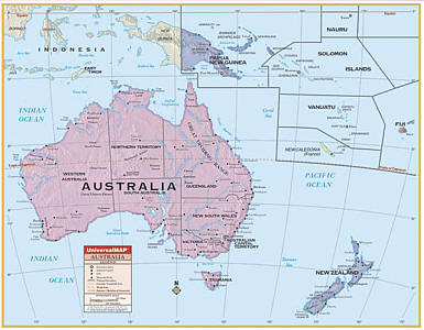 "Australia Primary ""Classroom"" WALL Map Railed."