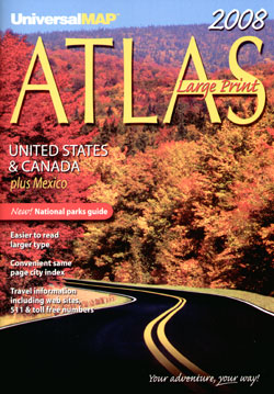 "United States, Canada and Mexico ""Large Print"" Road and Tourist ATLAS."
