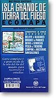 Isla Grande, Road and Topographic Travel Map, Tierra Del Fuego, Argentina.